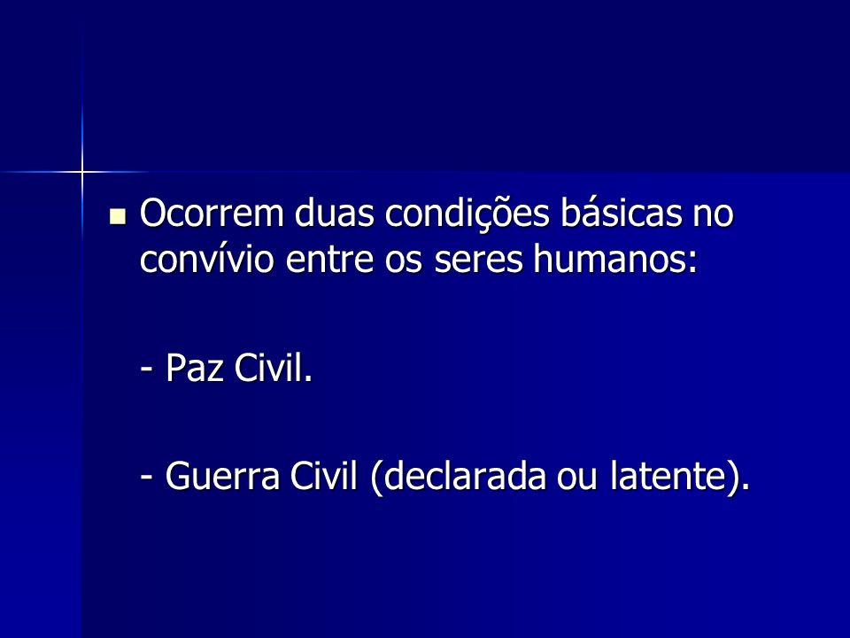 Ocorrem duas condições básicas no convívio entre os seres humanos: Ocorrem duas condições básicas no convívio entre os seres humanos: - Paz Civil. - G
