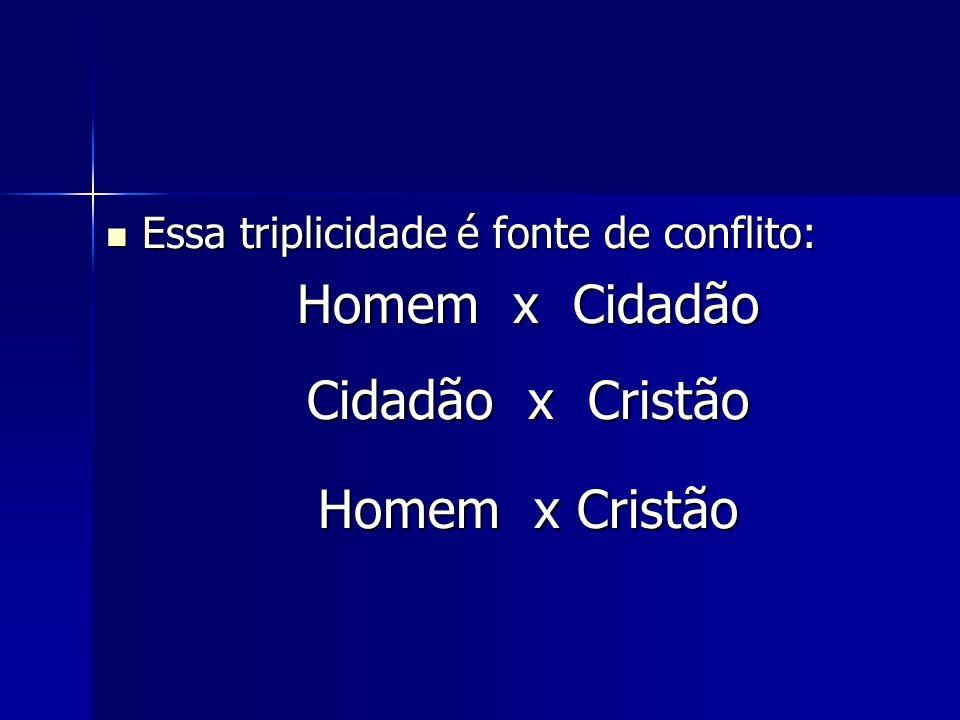 Essa triplicidade é fonte de conflito: Essa triplicidade é fonte de conflito: Homem x Cidadão Cidadão x Cristão Homem x Cristão