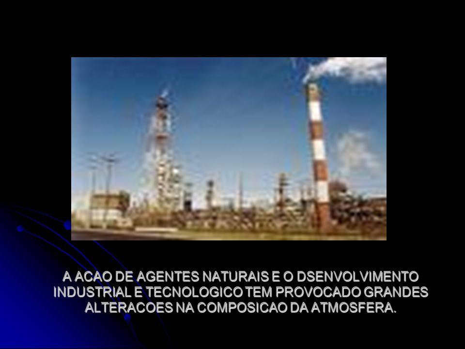 A ACAO DE AGENTES NATURAIS E O DSENVOLVIMENTO INDUSTRIAL E TECNOLOGICO TEM PROVOCADO GRANDES ALTERACOES NA COMPOSICAO DA ATMOSFERA.
