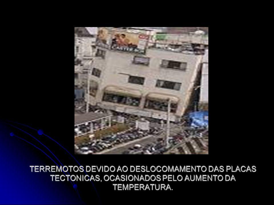 TERREMOTOS DEVIDO AO DESLOCOMAMENTO DAS PLACAS TECTONICAS, OCASIONADOS PELO AUMENTO DA TEMPERATURA.