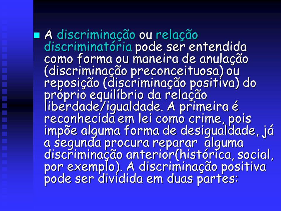 A discriminação ou relação discriminatória pode ser entendida como forma ou maneira de anulação (discriminação preconceituosa) ou reposição (discrimin