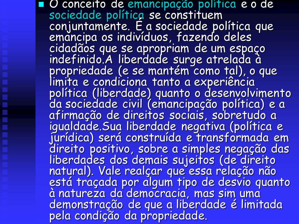 O conceito de emancipação política e o de sociedade política se constituem conjuntamente. É a sociedade política que emancipa os indivíduos, fazendo d