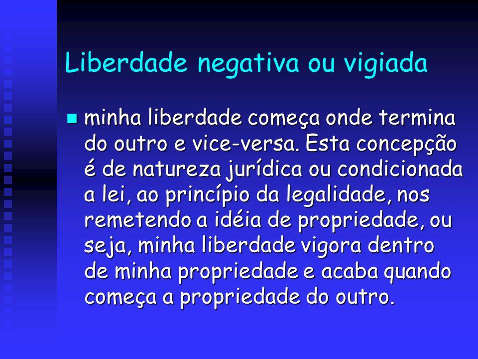 Liberdade negativa ou vigiada minha liberdade começa onde termina do outro e vice-versa. Esta concepção é de natureza jurídica ou condicionada a lei,