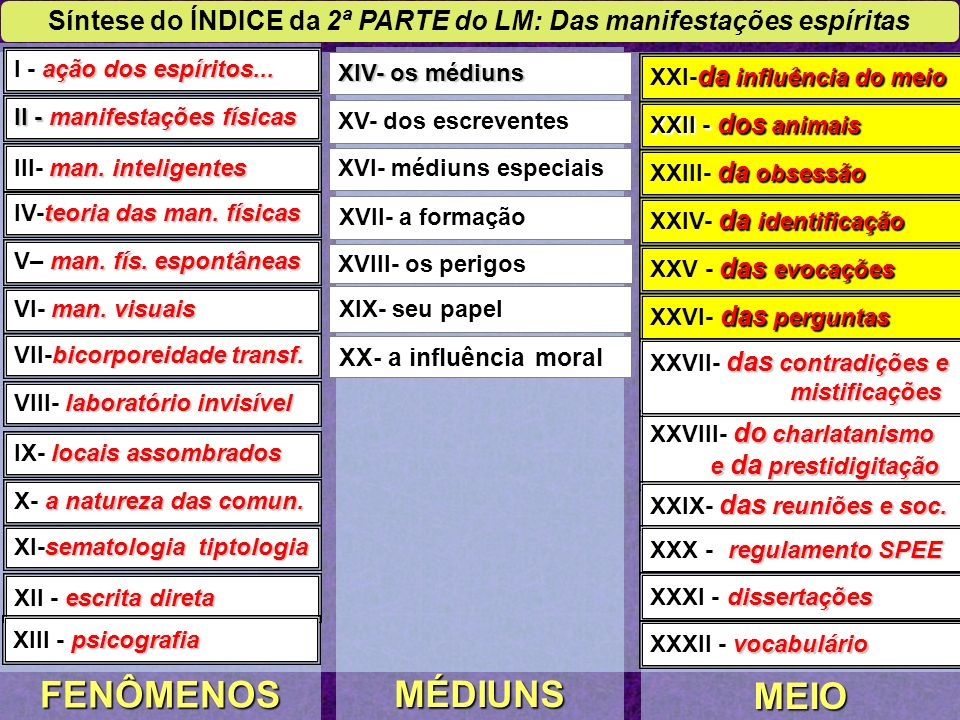 PRIMEIRA PARTE 1- NOÇÕES PRELIMINARES 4 caps. SEGUNDA PARTE 2- DAS MANIFESTAÇÕES ESPÍRITAS 32 caps.