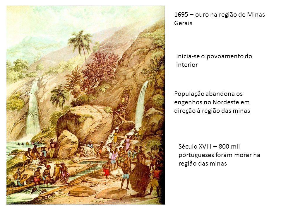 1695 – ouro na região de Minas Gerais Inicia-se o povoamento do interior População abandona os engenhos no Nordeste em direção à região das minas Sécu