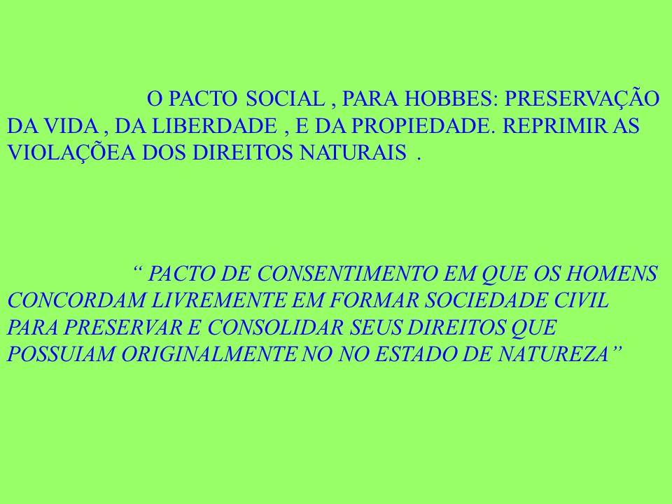 O PACTO SOCIAL, PARA HOBBES: PRESERVAÇÃO DA VIDA, DA LIBERDADE, E DA PROPIEDADE. REPRIMIR AS VIOLAÇÕEA DOS DIREITOS NATURAIS. PACTO DE CONSENTIMENTO E
