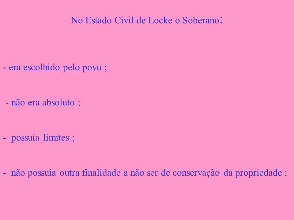 No Estado Civil de Locke o Soberano : - era escolhido pelo povo ; - não era absoluto ; - possuía limites ; - não possuía outra finalidade a não ser de
