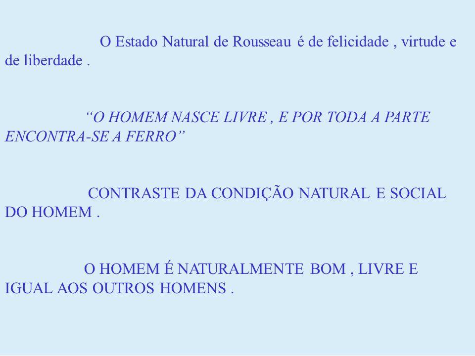 O Estado Natural de Rousseau é de felicidade, virtude e de liberdade. O HOMEM NASCE LIVRE, E POR TODA A PARTE ENCONTRA-SE A FERRO CONTRASTE DA CONDIÇÃ