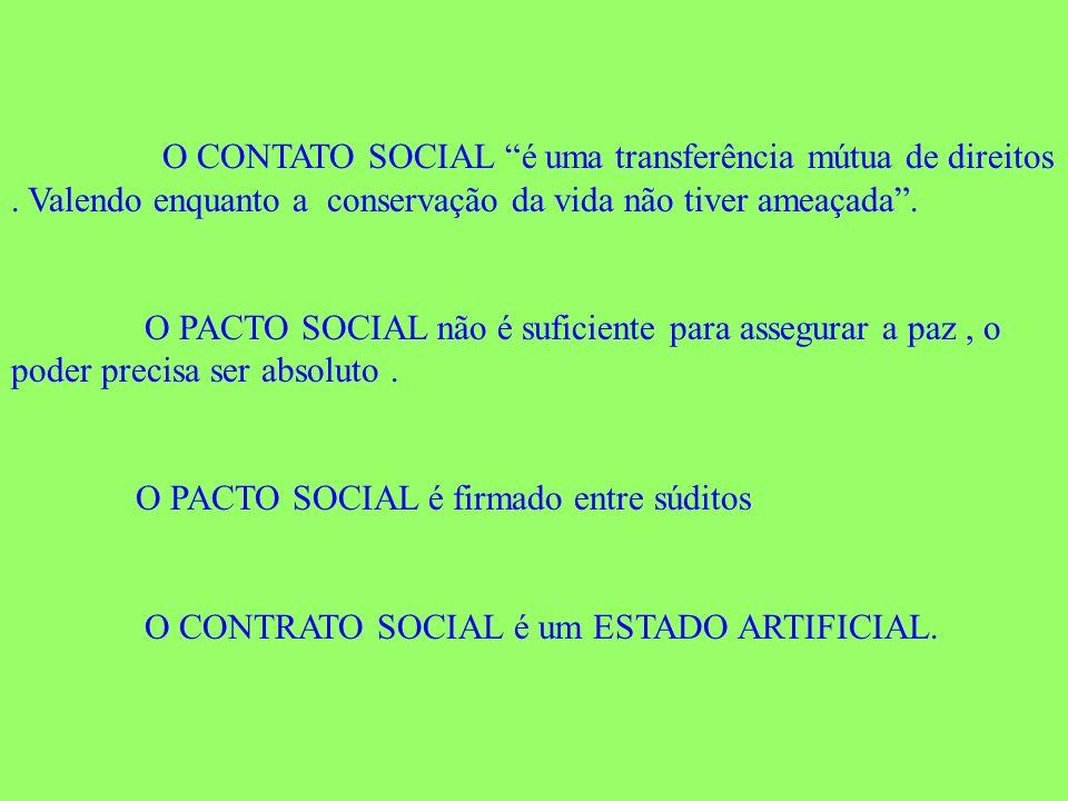 O CONTATO SOCIAL é uma transferência mútua de direitos. Valendo enquanto a conservação da vida não tiver ameaçada. O PACTO SOCIAL não é suficiente par