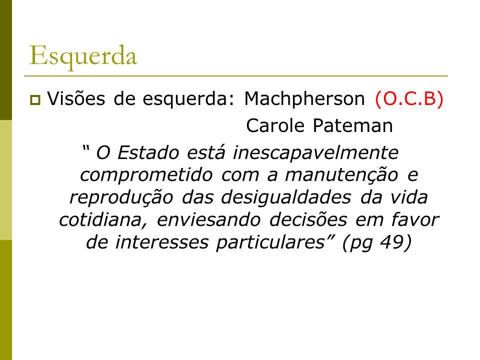 Esquerda Visões de esquerda: Machpherson (O.C.B) Carole Pateman O Estado está inescapavelmente comprometido com a manutenção e reprodução das desigual