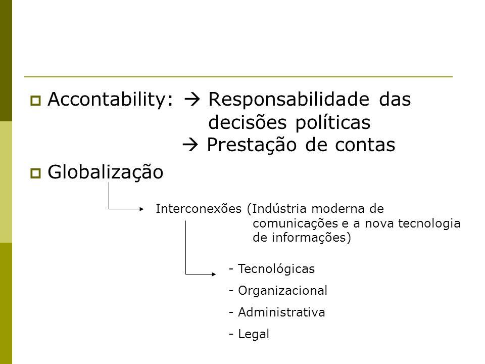 Accontability: Responsabilidade das decisões políticas Prestação de contas Globalização Interconexões (Indústria moderna de comunicações e a nova tecn