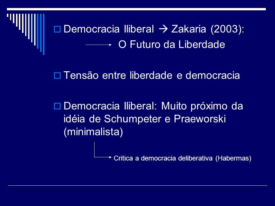 Democracia Iliberal Zakaria (2003): O Futuro da Liberdade Tensão entre liberdade e democracia Democracia Iliberal: Muito próximo da idéia de Schumpete