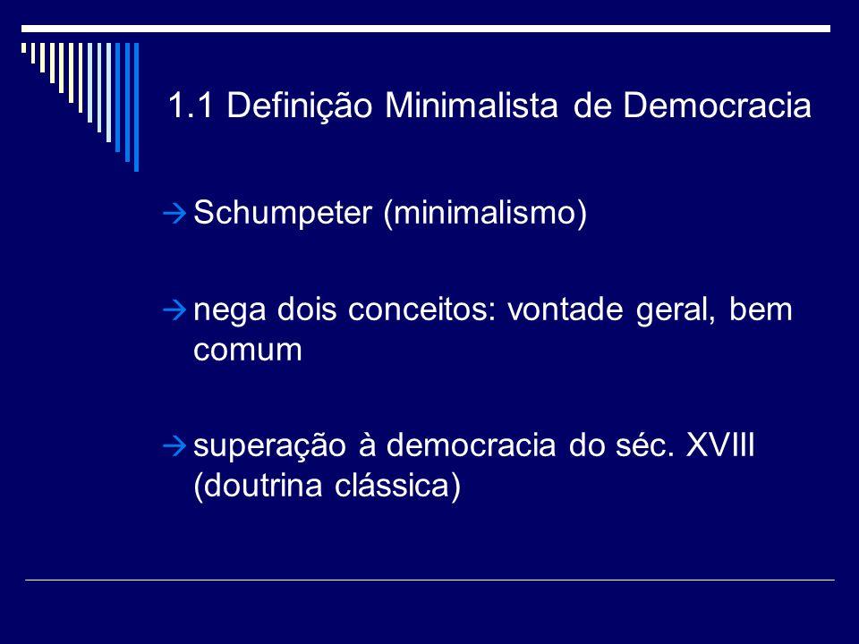 1.1 Definição Minimalista de Democracia Schumpeter (minimalismo) nega dois conceitos: vontade geral, bem comum superação à democracia do séc.