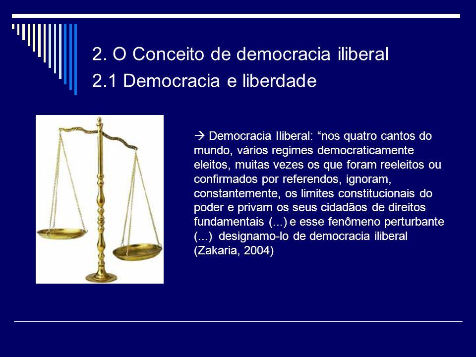 2. O Conceito de democracia iliberal 2.1 Democracia e liberdade Democracia Iliberal: nos quatro cantos do mundo, vários regimes democraticamente eleit