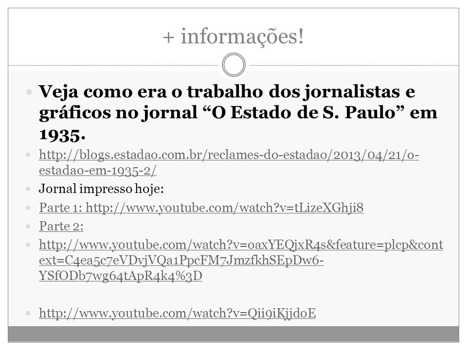 + informações! Veja como era o trabalho dos jornalistas e gráficos no jornal O Estado de S. Paulo em 1935. http://blogs.estadao.com.br/reclames-do-est