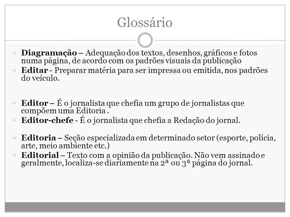 Glossário Diagramação – Adequação dos textos, desenhos, gráficos e fotos numa página, de acordo com os padrões visuais da publicação Editar - Preparar