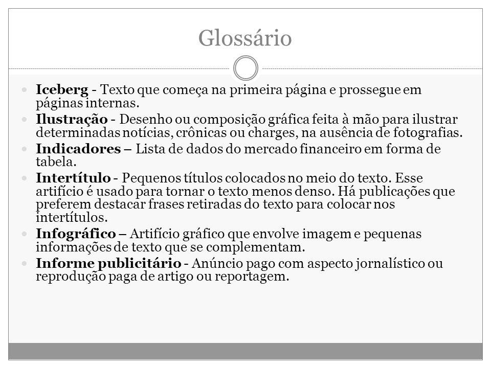 Glossário Iceberg - Texto que começa na primeira página e prossegue em páginas internas. Ilustração - Desenho ou composição gráfica feita à mão para i