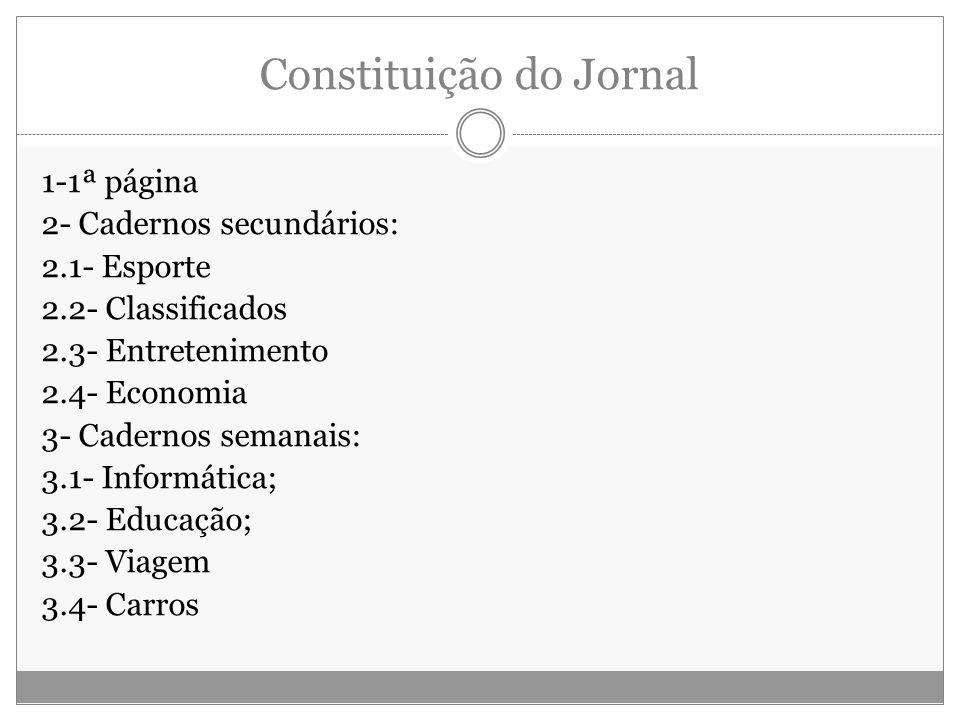 Constituição do Jornal 1-1ª página 2- Cadernos secundários: 2.1- Esporte 2.2- Classificados 2.3- Entretenimento 2.4- Economia 3- Cadernos semanais: 3.