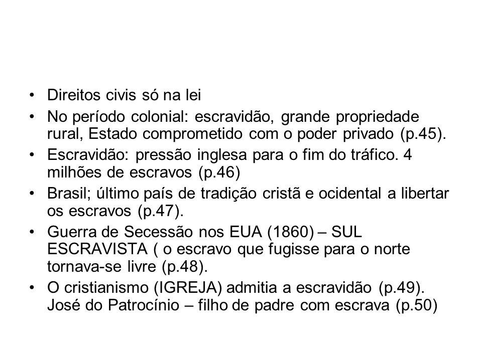 Direitos civis só na lei No período colonial: escravidão, grande propriedade rural, Estado comprometido com o poder privado (p.45). Escravidão: pressã