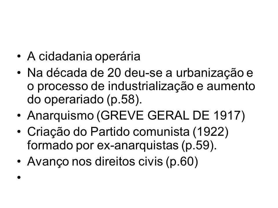 A cidadania operária Na década de 20 deu-se a urbanização e o processo de industrialização e aumento do operariado (p.58). Anarquismo (GREVE GERAL DE
