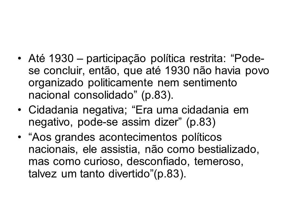 Até 1930 – participação política restrita: Pode- se concluir, então, que até 1930 não havia povo organizado politicamente nem sentimento nacional cons