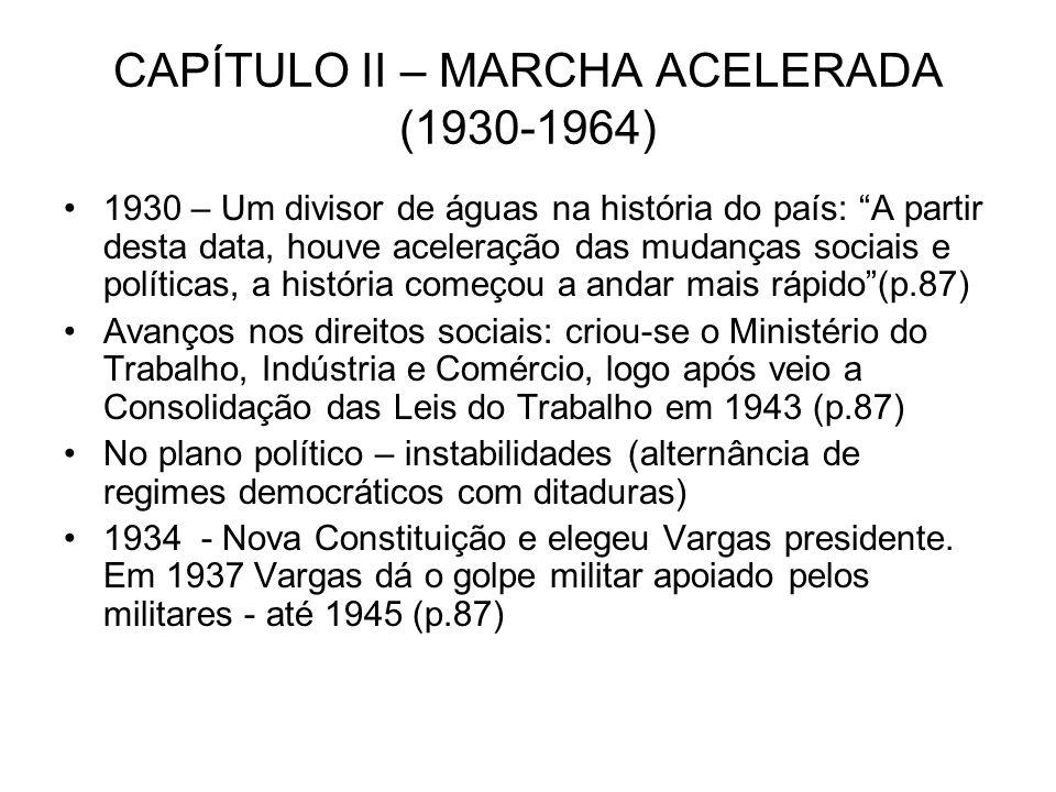 CAPÍTULO II – MARCHA ACELERADA (1930-1964) 1930 – Um divisor de águas na história do país: A partir desta data, houve aceleração das mudanças sociais