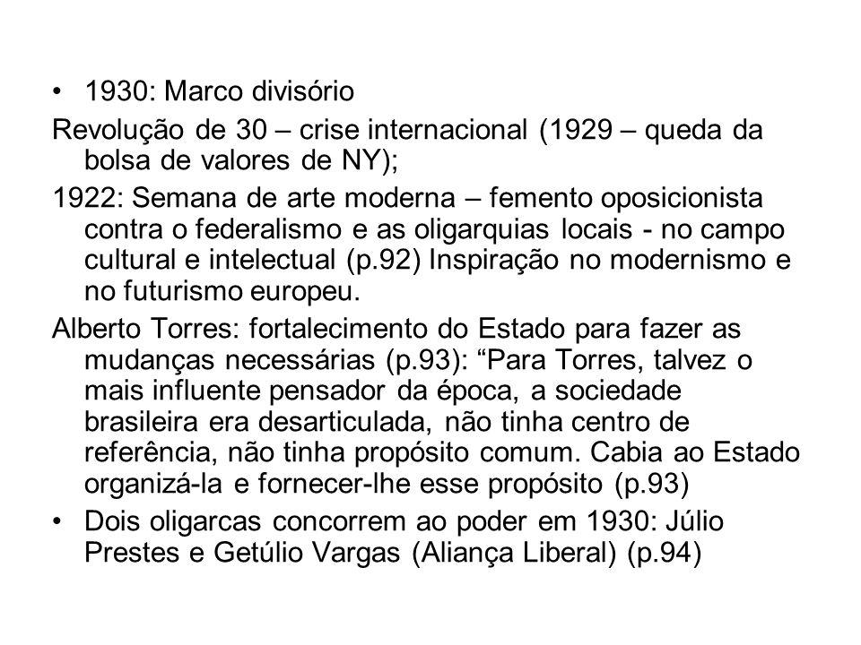 1930: Marco divisório Revolução de 30 – crise internacional (1929 – queda da bolsa de valores de NY); 1922: Semana de arte moderna – femento oposicion