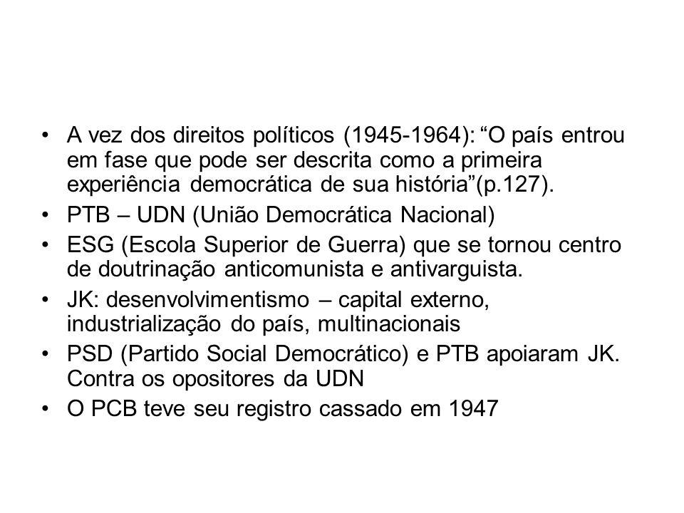 A vez dos direitos políticos (1945-1964): O país entrou em fase que pode ser descrita como a primeira experiência democrática de sua história(p.127).