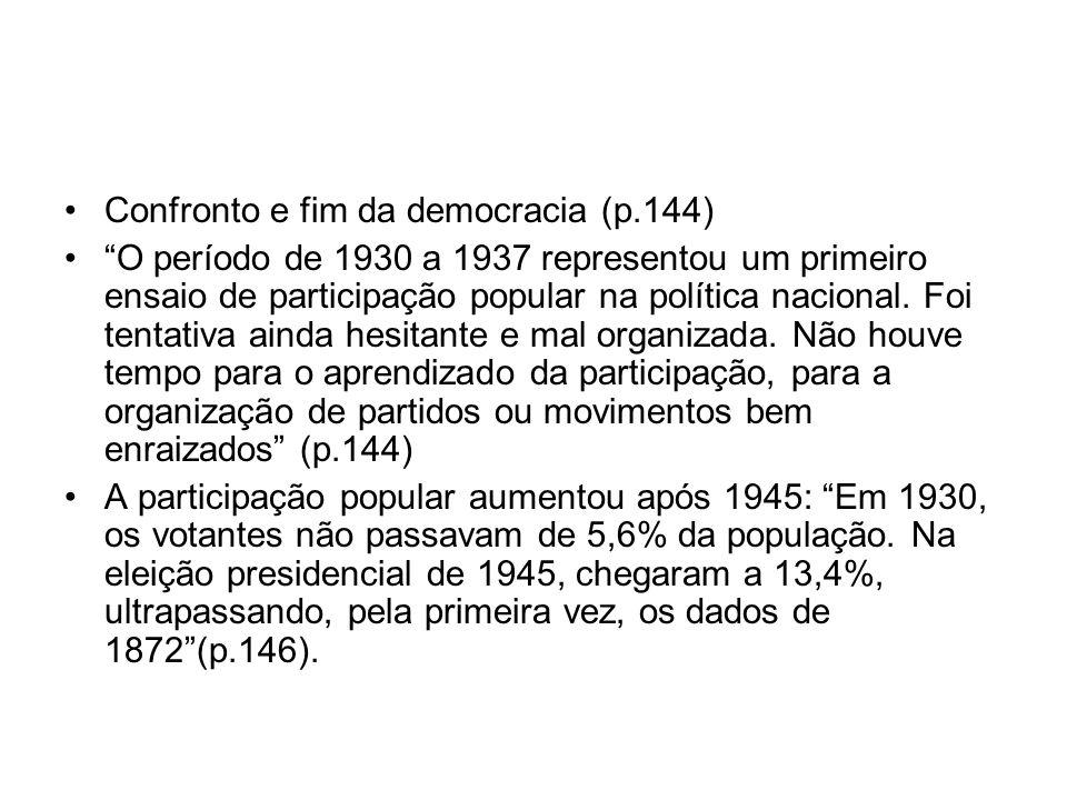 Confronto e fim da democracia (p.144) O período de 1930 a 1937 representou um primeiro ensaio de participação popular na política nacional. Foi tentat