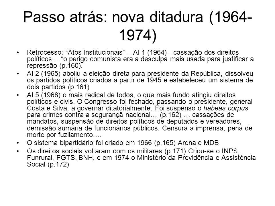 Passo atrás: nova ditadura (1964- 1974) Retrocesso: Atos Institucionais – AI 1 (1964) - cassação dos direitos políticos… o perigo comunista era a desc