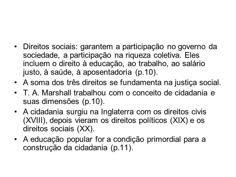 Direitos sociais: garantem a participação no governo da sociedade, a participação na riqueza coletiva. Eles incluem o direito à educação, ao trabalho,