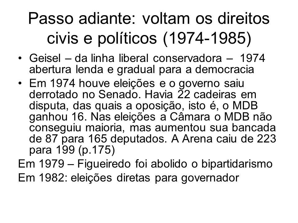 Passo adiante: voltam os direitos civis e políticos (1974-1985) Geisel – da linha liberal conservadora – 1974 abertura lenda e gradual para a democrac