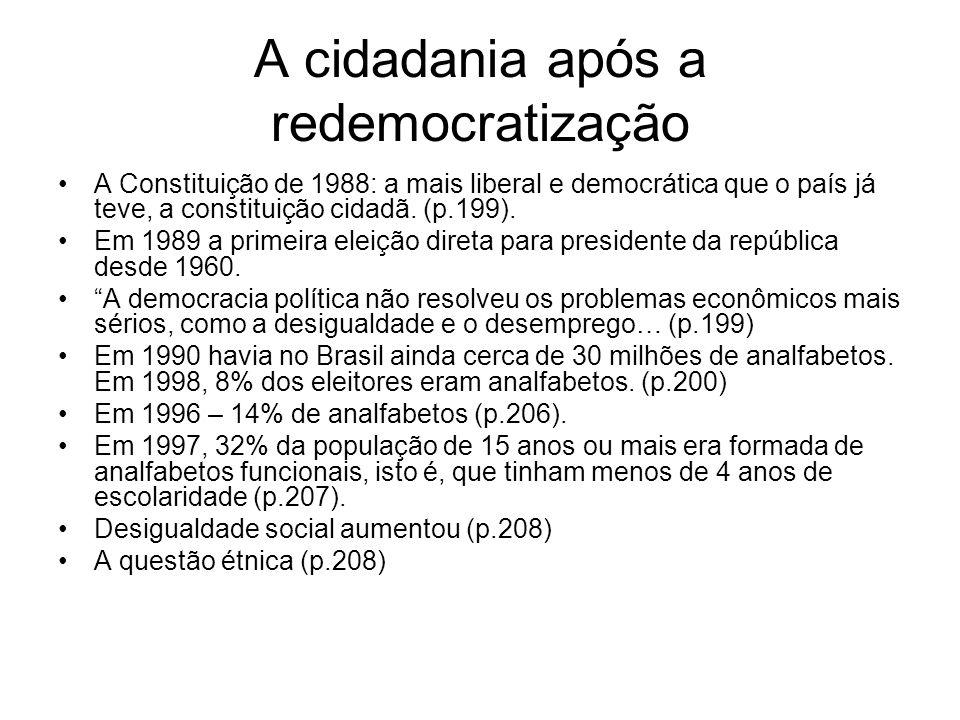 A cidadania após a redemocratização A Constituição de 1988: a mais liberal e democrática que o país já teve, a constituição cidadã. (p.199). Em 1989 a