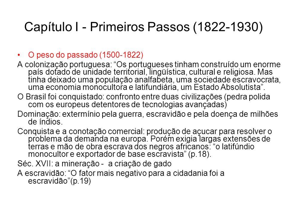 Na Inglaterra as liberdade civis vieram primeiro, logo após os direitos políticos (partidos) e, por fim, os direitos sociais (p.220) No Brasil criou-se a estadania ao invés da cidadania (p.221).