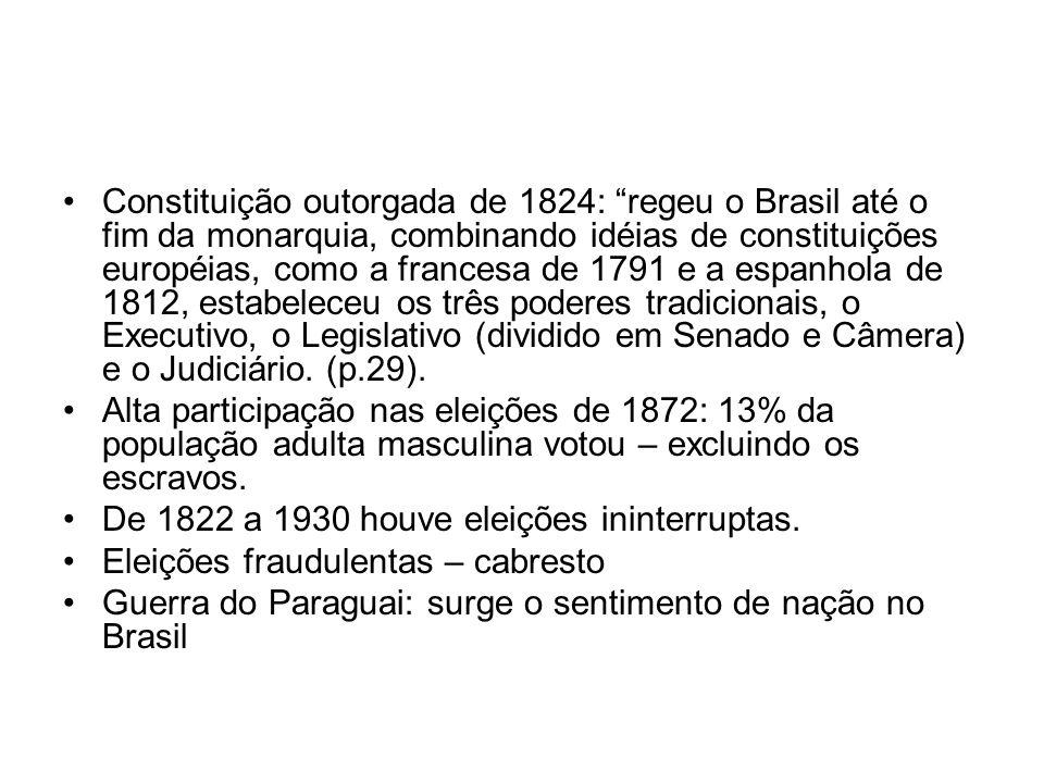 Constituição outorgada de 1824: regeu o Brasil até o fim da monarquia, combinando idéias de constituições européias, como a francesa de 1791 e a espan