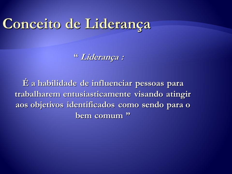 Liderança : Liderança : É a habilidade de influenciar pessoas para trabalharem entusiasticamente visando atingir aos objetivos identificados como send