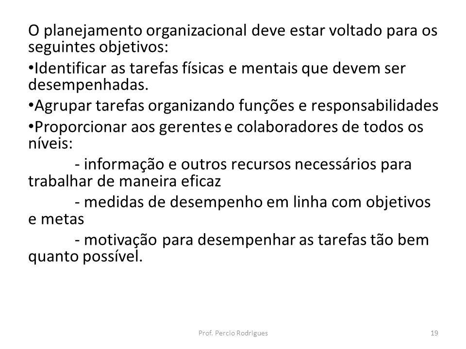 O planejamento organizacional deve estar voltado para os seguintes objetivos: Identificar as tarefas físicas e mentais que devem ser desempenhadas. Ag