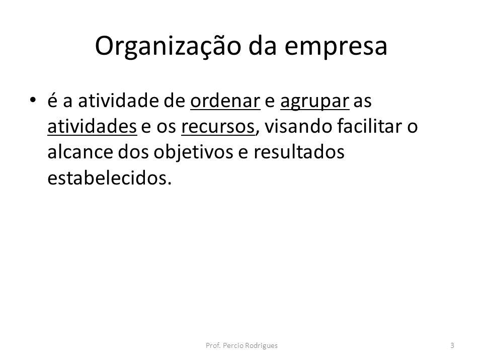 Organização da empresa é a atividade de ordenar e agrupar as atividades e os recursos, visando facilitar o alcance dos objetivos e resultados estabele