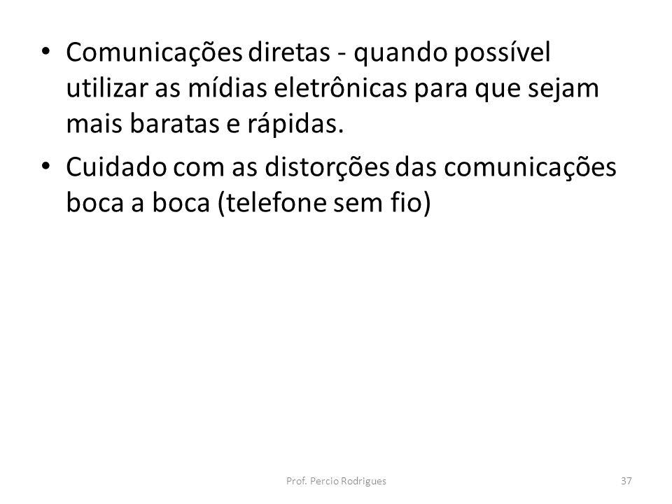 Comunicações diretas - quando possível utilizar as mídias eletrônicas para que sejam mais baratas e rápidas. Cuidado com as distorções das comunicaçõe