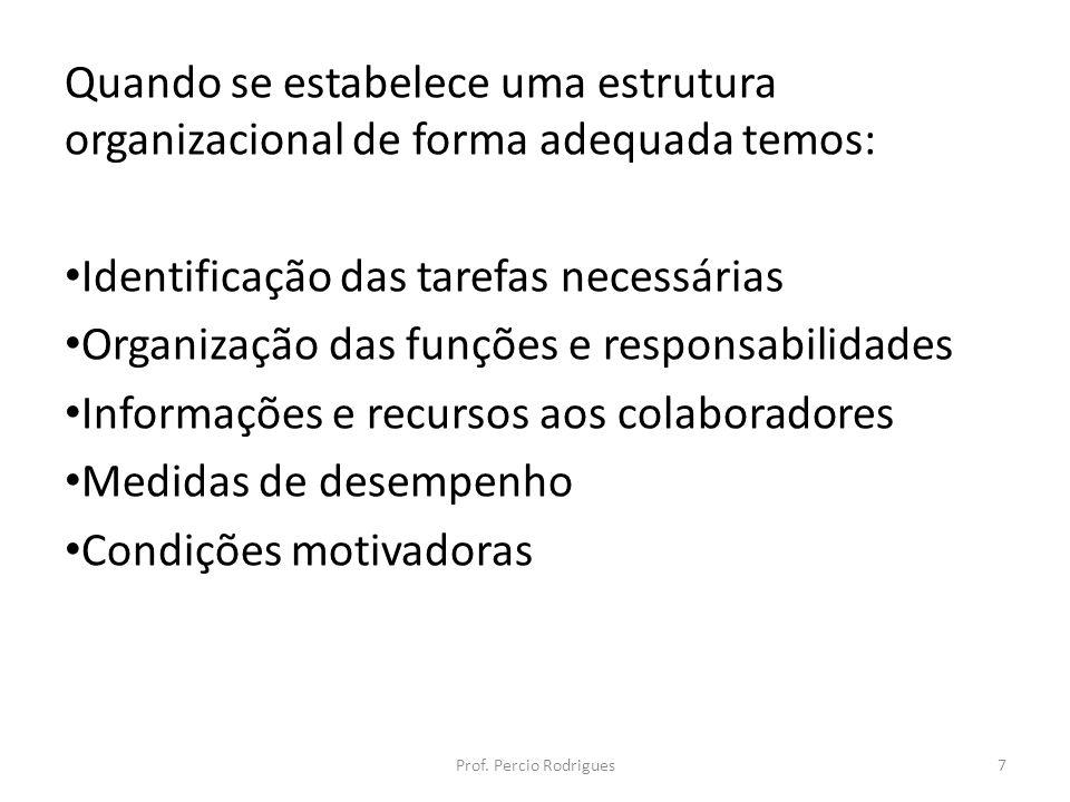 Quando se estabelece uma estrutura organizacional de forma adequada temos: Identificação das tarefas necessárias Organização das funções e responsabil