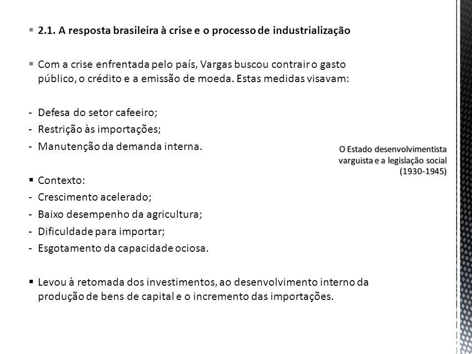 2.1. A resposta brasileira à crise e o processo de industrialização Com a crise enfrentada pelo país, Vargas buscou contrair o gasto público, o crédit