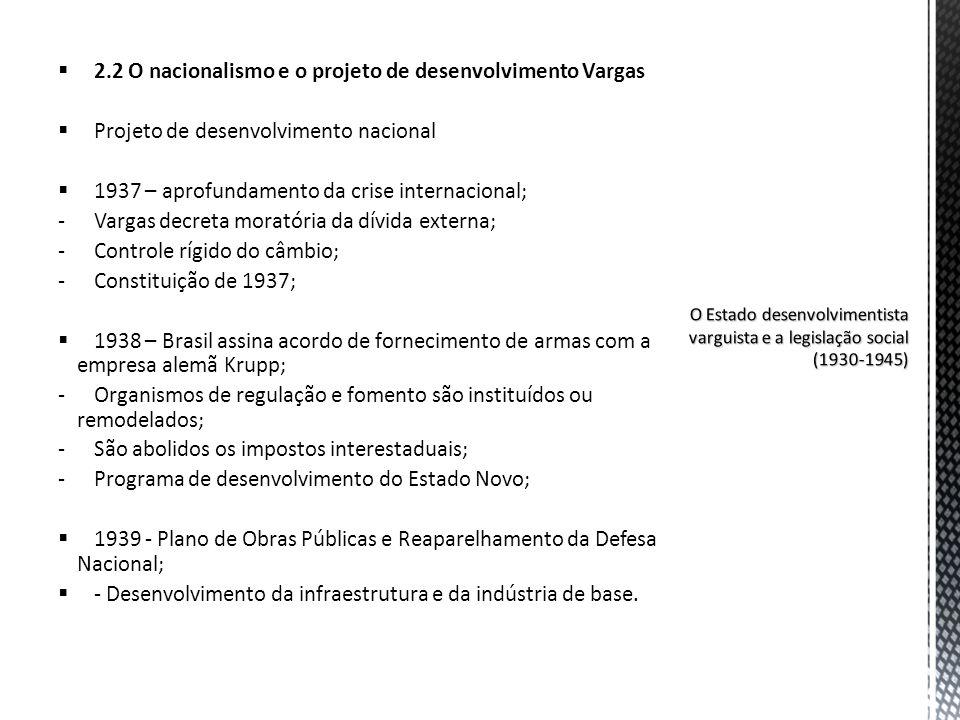 2.2 O nacionalismo e o projeto de desenvolvimento Vargas Projeto de desenvolvimento nacional 1937 – aprofundamento da crise internacional; -Vargas dec