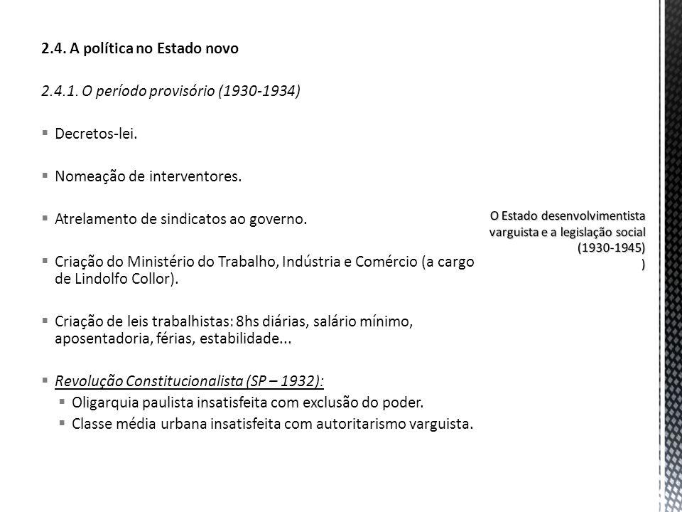 2.4. A política no Estado novo 2.4.1. O período provisório (1930-1934) Decretos-lei. Nomeação de interventores. Atrelamento de sindicatos ao governo.