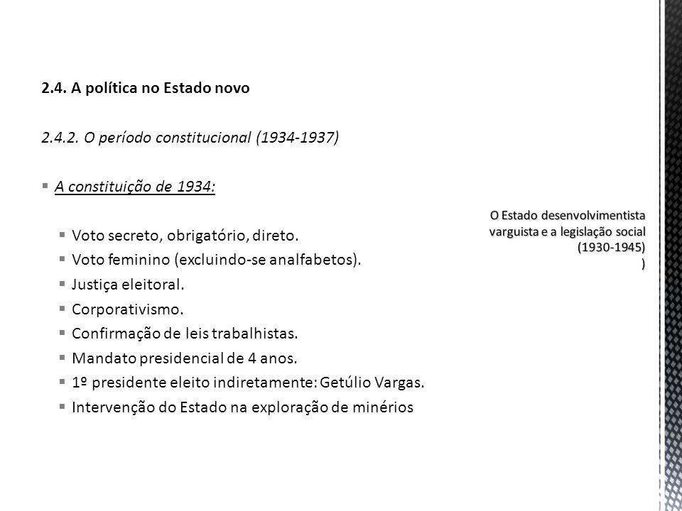 2.4. A política no Estado novo 2.4.2. O período constitucional (1934-1937) A constituição de 1934: Voto secreto, obrigatório, direto. Voto feminino (e