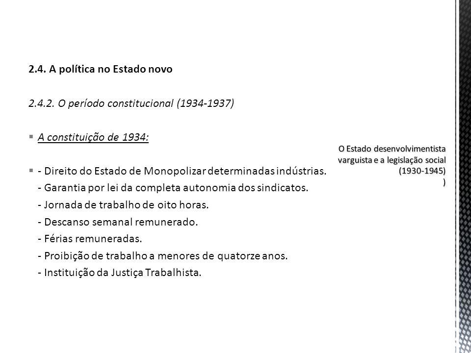 2.4. A política no Estado novo 2.4.2. O período constitucional (1934-1937) A constituição de 1934: - Direito do Estado de Monopolizar determinadas ind