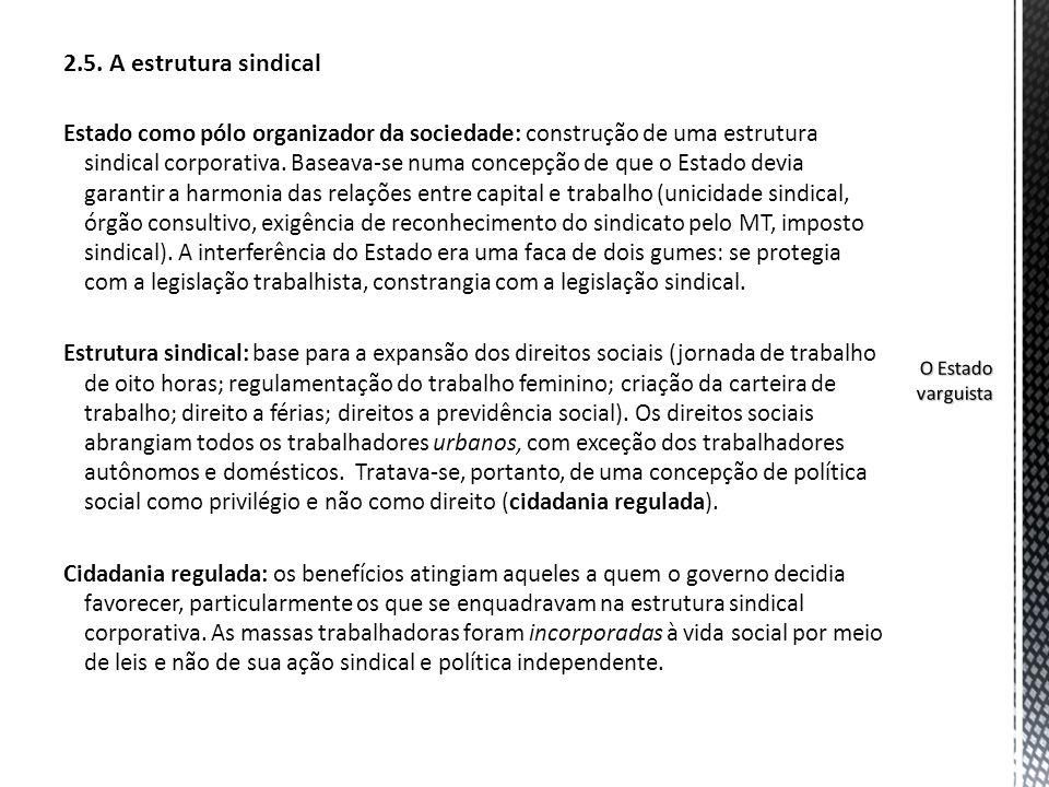 2.5. A estrutura sindical Estado como pólo organizador da sociedade: construção de uma estrutura sindical corporativa. Baseava-se numa concepção de qu