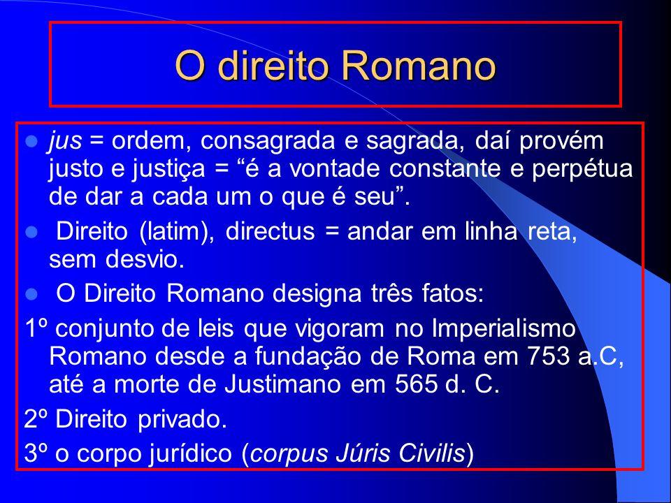 O direito Romano jus = ordem, consagrada e sagrada, daí provém justo e justiça = é a vontade constante e perpétua de dar a cada um o que é seu. Direit