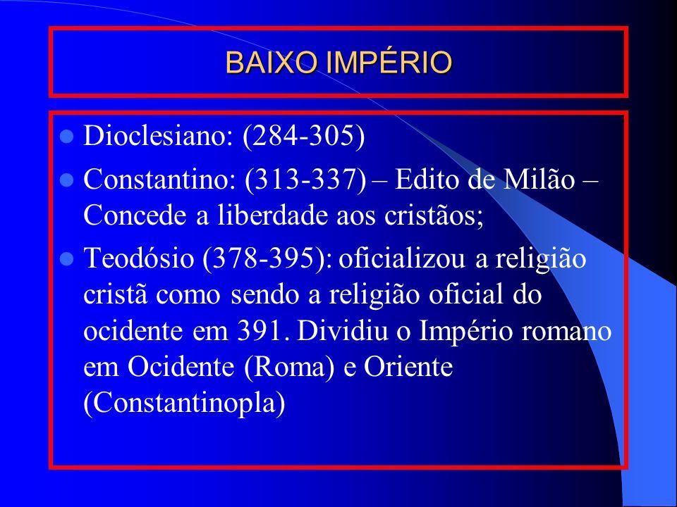 BAIXO IMPÉRIO Dioclesiano: (284-305) Constantino: (313-337) – Edito de Milão – Concede a liberdade aos cristãos; Teodósio (378-395): oficializou a rel