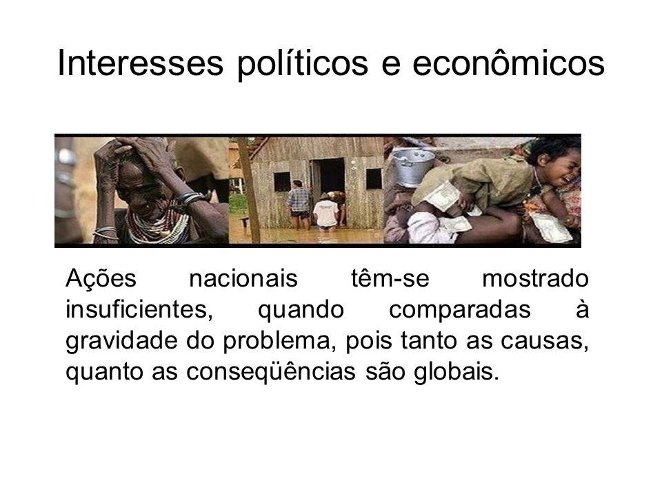 Interesses políticos e econômicos Ações nacionais têm-se mostrado insuficientes, quando comparadas à gravidade do problema, pois tanto as causas, quan