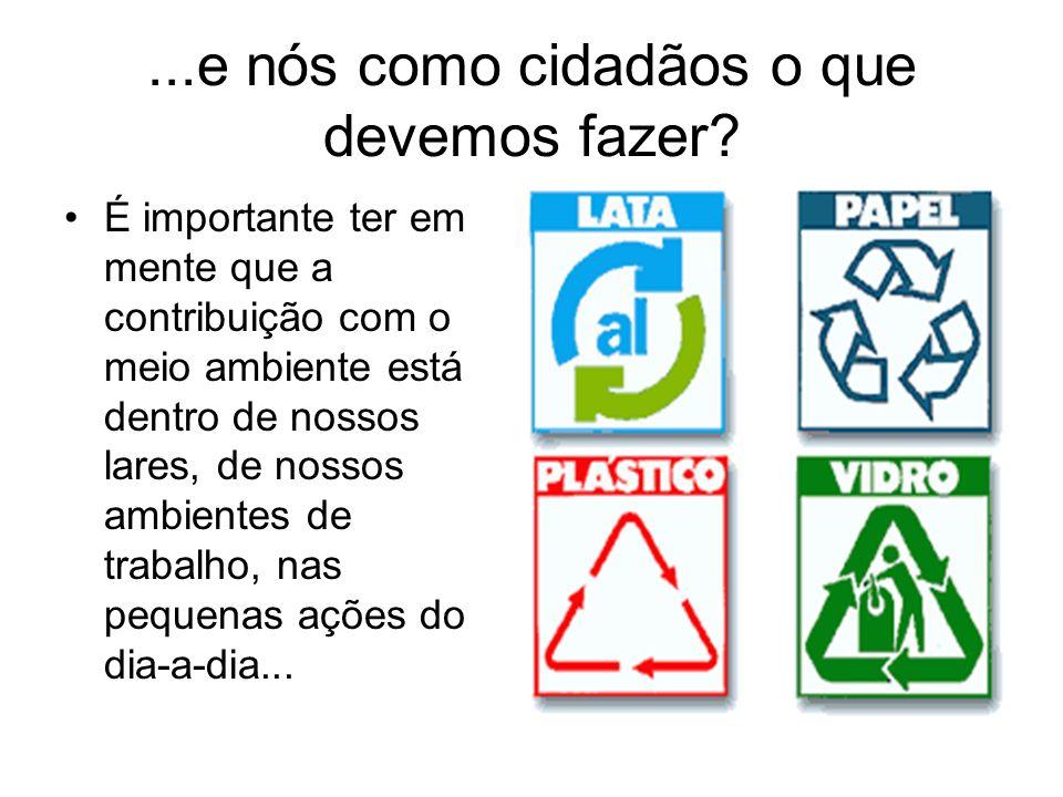 ...e nós como cidadãos o que devemos fazer? É importante ter em mente que a contribuição com o meio ambiente está dentro de nossos lares, de nossos am